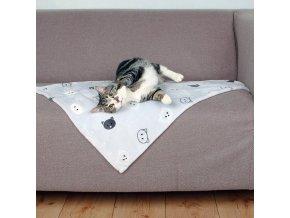Plyšová deka MIMI 70x50 cm šedá s kočičími hlavami