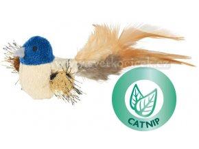 Plyšový ptáček s peřím a catnipem 8 cm - hračka pro kočky