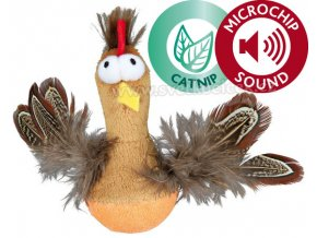 Bobo kuře s peřím, catnipem a zvukem na mikročip 10 cm