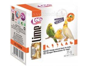 LOLOpets Lime minerální kámen pro ptáky pomerančový - 2 ks, 35 g