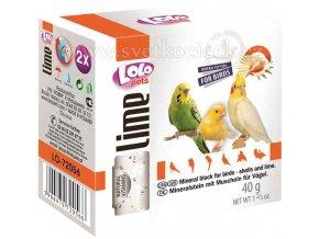 LOLOpets Lime minerální kámen pro ptáky s mušlemi - 2 ks, 40 g