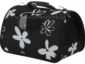Přepravní látková taška Flower S pro koťata a pejsky mini plemen ČERNÁ