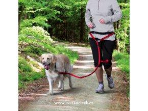Pás na běh s vodítkem pro střední a větší psy - červená barva