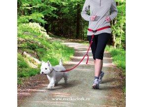 Pás na běh s vodítkem pro malé a střední psy - červená barva
