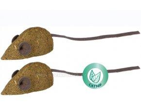 Myš VYTVAROVANÁ Z CATNIPU 5 cm s koženým ocáskem - 2 ks v balení