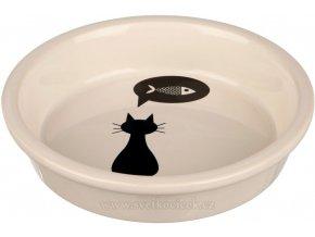 Keramická miska pro kočky bílá s černou kočkou 13 cm, 250 ml
