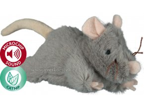Robustní plyšová myš s catnipem a mikročipem