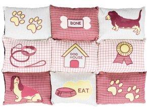 Měkká mozaiková deka pro psy 80 x 55 cm - červená/béžová
