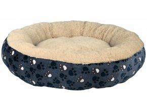 Pelíšek Tammy modro-béžový s tlapkami 50 cm