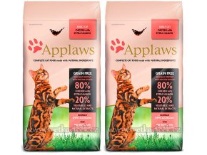 Aplaws pro kočky s lososem 2x 7,5 kg
