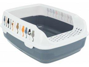 Kočičí WC Delio se zvýšeným okrajem, šedo-bílé s kočičkami