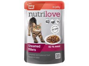 Nutrilove s hovězím v želé - kapsička pro kočky 85 g