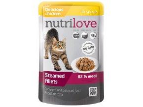Nutrilove s kuřecím v omáčce - kapsička pro kočky 85 g