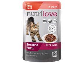 Nutrilove s hovězím v omáčce - kapsička pro kočky 85 g
