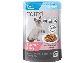 Nutrilove Sterile s lososem v omáčce - kapsička pro kočky 85 g