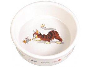 Keramická miska motiv kočka s myší 11 cm, 0,2 l