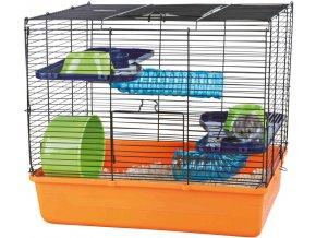 Klec pro myš nebo křečíka s výbavou oranžová 40x38x30 cm