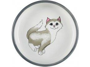 Široká keramická miska šedo-bílá s packami a kočičkou 15 cm, 300 ml