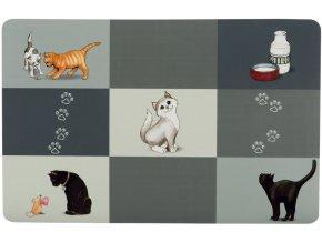 Prostírání Patchwork pro kočky šedé s různými obrázky
