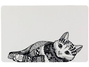 Prostírání s kresbou Zentangle černo-bílé s kočkou