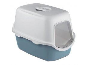 Kryté kočičí WC CATHY s filtrem šedomodré