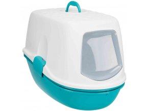 Kočičí WC Berto TOP dvojitá nádoba se sítem tyrkysovo-bílé