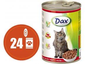 Dax kousky hovězí - konzerva pro kočky 24x415 g