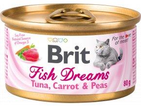 Brit Fish Dreams tuňák, mrkev a hrášek - konzerva pro kočky 80 g