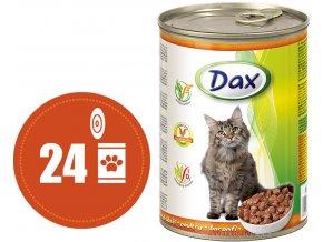 Dax kousky drůbeží - konzerva pro kočky 24x415 g