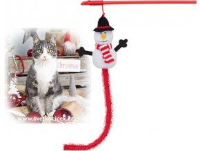 VÁNOČNÍ vábnička se sněhulákem - hračka pro kočky