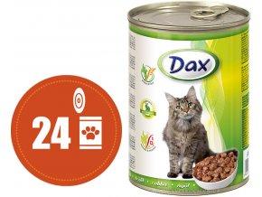 Dax kousky králičí - konzerva pro kočky 24x415 g