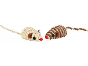 Myš sisal chrastící 5 cm  - hračka pro kočičky v přírodních barvách