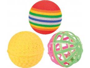 Sada 3 míčků - různé hračky pro koťata i dospělé kočičky