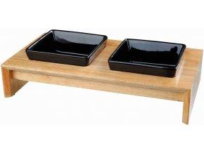 Set keramických misek PRO PSY v dřevěném stojánku 2x0,4 l, 13 cm