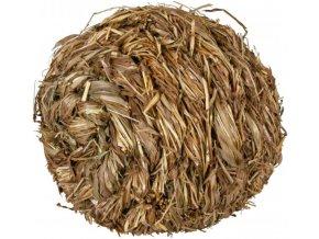 Míček z trávy s rolničkou 10 cm - hračka pro morčata a králíky