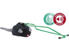 Mikročipová myš na dveřní rám - hračka pro kočky se šantou k zavěšení
