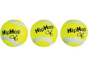 Mini tenisové míčky S ROLNIČKOU PRO KOČKY - 3 ks v balení