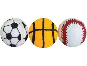Pískací sportovní tenisové míčky 6,5 cm bezpečné pro zuby - 3 ks v balení