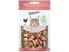DOKAS kuřecí srdíčka - mrazem sušené pamlsky pro kočky 15 g
