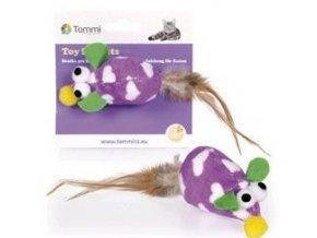 Myš větší s peříčkovým ocáskem 7 cm - hračka pro kočky