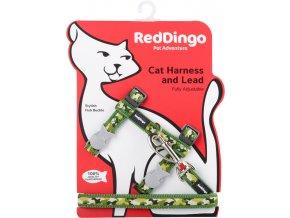 Postroj s vodítkem pro kočky zelený Camouflage