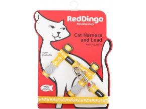 Postroj s vodítkem pro kočky žlutý White Spots