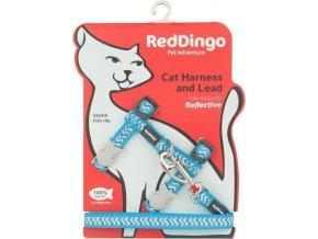 Postroj s vodítkem pro kočky reflexní tyrkysový Ziggy