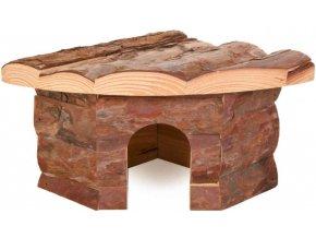 Rohový dřevěný domeček pro křečka Jesper