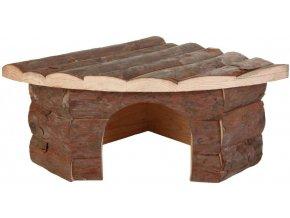 Rohový dřevěný domeček pro morče nebo činčilu Jesper