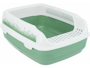 Kočičí WC Delio se zvýšeným okrajem, zeleno-bílé