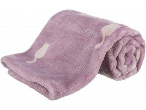 Plyšová deka LILLY 70x50 cm lila s kočičkami