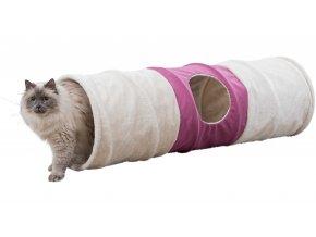 Plyšový tunel XXL 35 x 115 cm béžovo-fialový