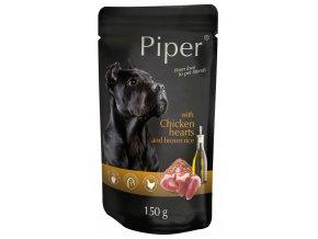 Piper s kuřecími srdíčky a hnědou rýží - kapsička pro psy 150 g