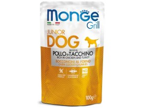 Monge Grill Junior s kuřecím a krůtím - kapsička pro štěňata 100 g